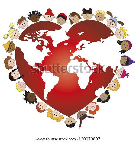 illustration of world with happy children face - stock photo