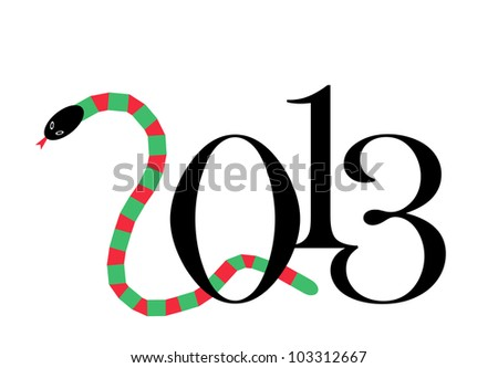 illustration of 2013 year of the snake - stock photo