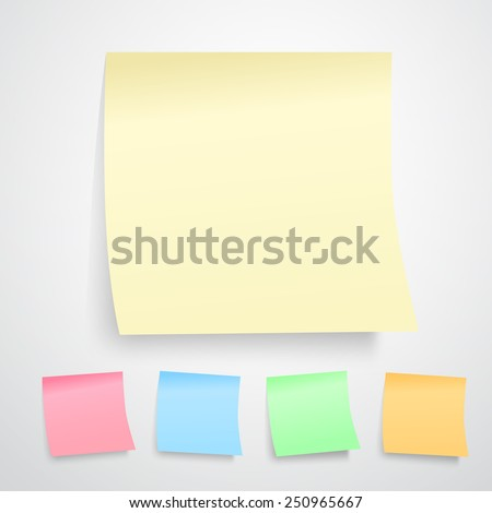 illustration of yellow notes paper isolated on white background. ( all kinds of color version) - stock photo