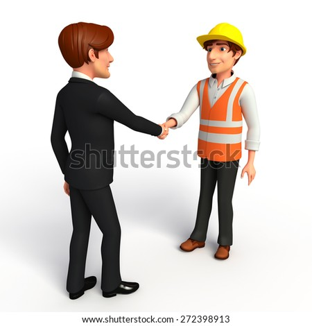 Illustration of Young Business Man and worker with shake hand - stock photo