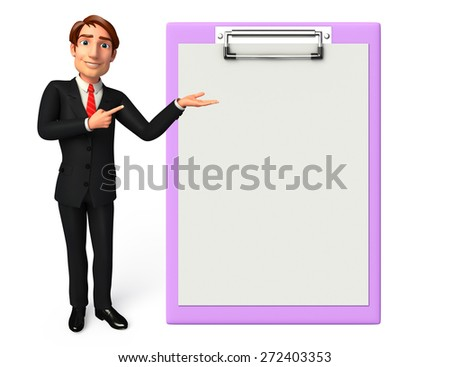 Illustration of Young Business Man with notepad - stock photo