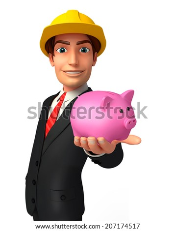 Illustration of Young Business Man with piggy bank - stock photo