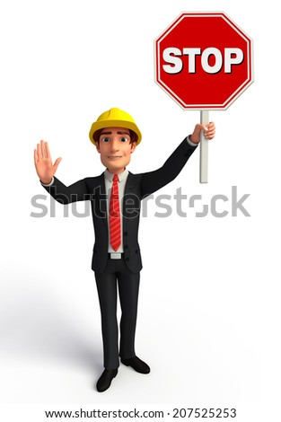 Illustration of Young Business Man with Stop sign - stock photo