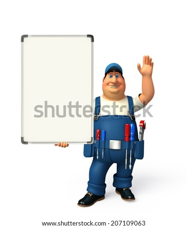 Illustration of young plumber with display board - stock photo