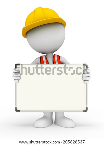 Illustration of young worker with display board - stock photo