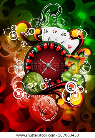 illustration on a casino theme with roulette and disco ball. JPG version - stock photo