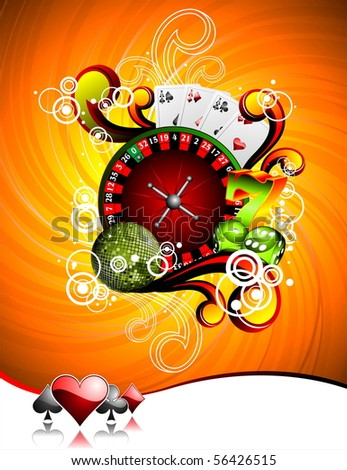 illustration on a casino theme with roulette wheel, playing cards and dices (JPG VERSION) - stock photo