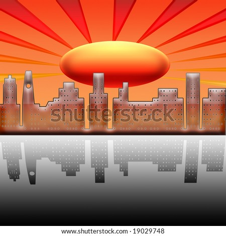 illustration on heating of a city on the planet earth - stock photo