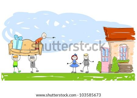 Illustration on the subject of housewarming - stock photo