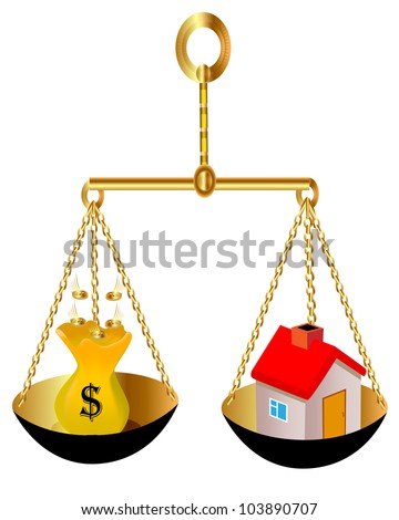 illustration on weight house and bag with dollar - stock photo