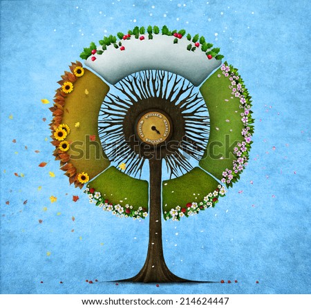 Illustration or postcard with  round tree four seasons - stock photo