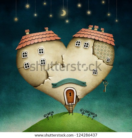 Illustration or poster with  house in shape of  heart. - stock photo
