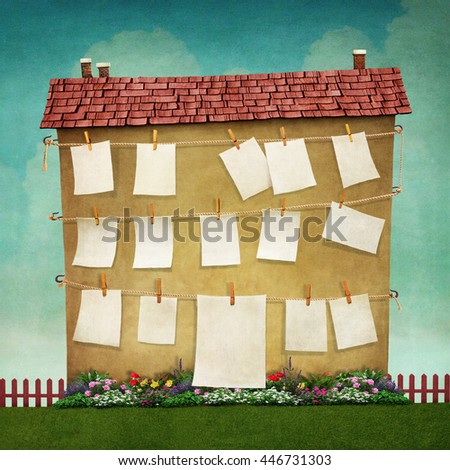 Illustration or poster with  large house and  flower bed - stock photo