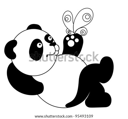 illustration - Panda with a butterfly - stock photo