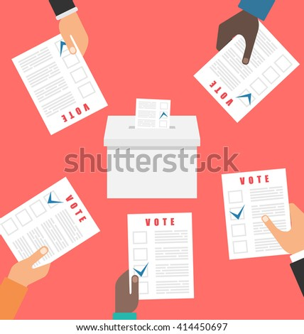 Illustration People Holding Ballot Papers and Putting Them into Ballot Box. Election and Voting Elements in Flat Style - raster - stock photo