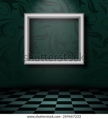 Illustration picture frame in dark empty interior - raster - stock photo