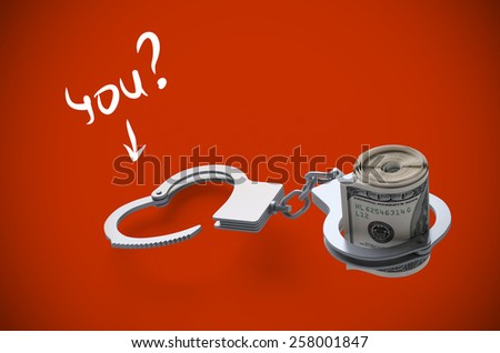 illustration. Put handcuffs on money. On a red background. Stop corruption - stock photo