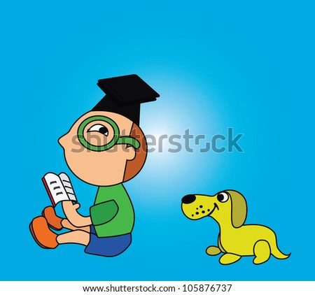 Illustration - Reading.The boy is reading and his dog want to read too. - stock photo