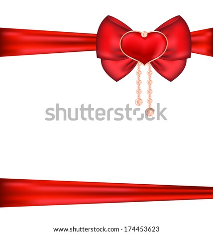 Illustration red bow with heart and pearls for packing gift Valentine Day - raster - stock photo