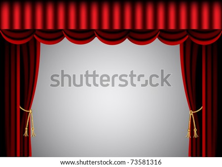 illustration red curtain and scenic screen - stock photo