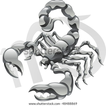Illustration representing Scorpio the scorpion star or birth sign. Includes the symbol or icon in the background - stock photo