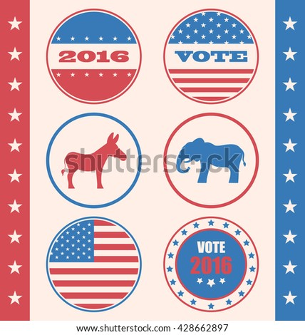 Illustration Retro Style of Button for Vote or Voting Campaign Election. Set Vintage Badge with Symbols of United States Political Parties - raster - stock photo