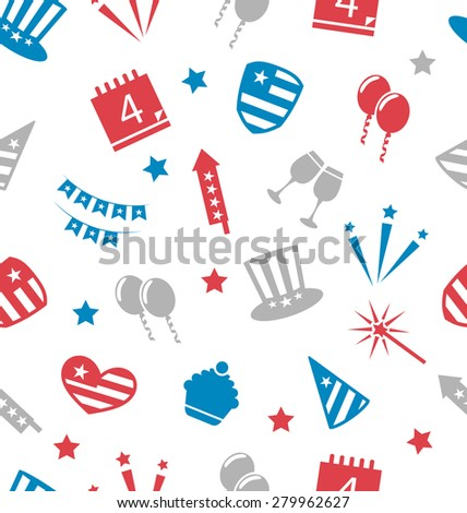 Illustration Seamless Pattern for Independence Day of America, Flat Icons in US National Colors - raster - stock photo