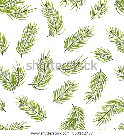 Illustration Seamless Pattern with Fir Branches, Nature Texture - raster - stock photo