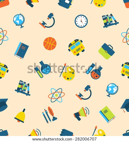 Illustration Seamless Pattern with Icons of Education Subjects, School Background - raster - stock photo