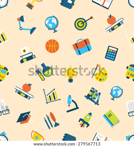 Illustration Seamless Texture with Icons of Education Item, School Background - raster - stock photo