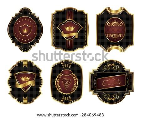 Illustration set black gold-framed labels with squares mosaic texture - raster - stock photo