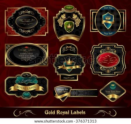 Illustration set colorful gold-framed labels - raster - stock photo