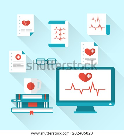 Illustration set modern flat medical icons with paper documents with electrocardiograms - raster - stock photo