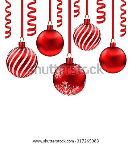 Illustration set red glass balls with serpentine for Merry Christmas, isolated on white background - raster - stock photo