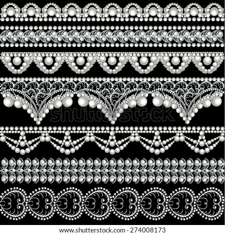 illustration set with lace ornaments with pearls - stock photo