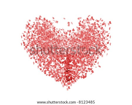 Illustration. Sheets of paper forming a heart - stock photo