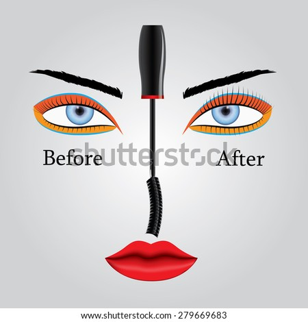 Illustration showing the appearance of eyelashes before and after applying mascara. Results and benefits. - stock photo
