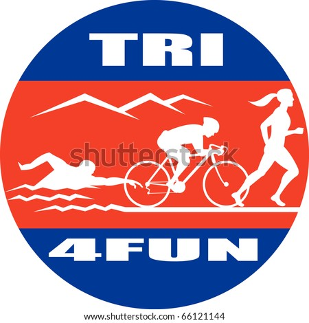 illustration showing the progression of triathlon showing an athlete swimming, biking or cycling and finishing of with  a run. - stock photo