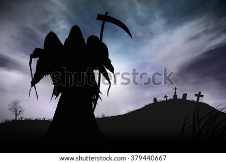 Illustration - Silhouette of a Grim Reaper or fantasy evil spirit in a graveyard at night. Good for background. Original Digital painting. - stock photo