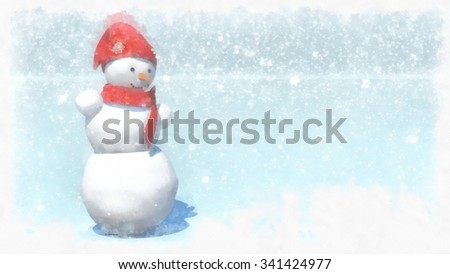 illustration, snowman. Snowfall background. - stock photo