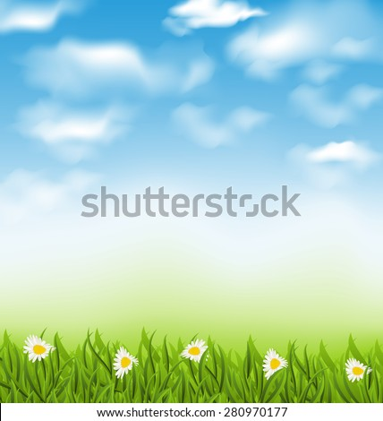 Illustration spring natural background with blue sky, clouds, grass field and flowers chamomiles - raster - stock photo
