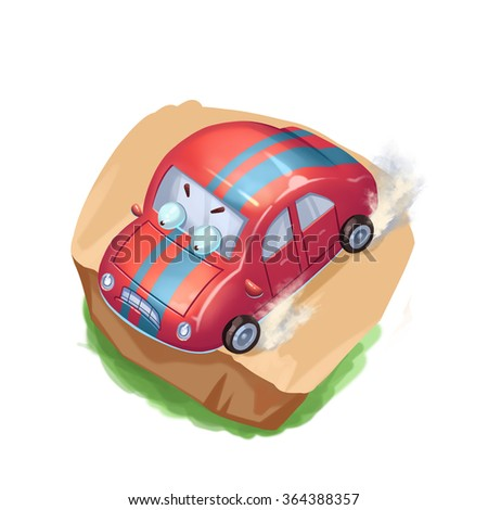 Illustration: Stop the Car Before You Fall! Wake up to and Avoid Danger at the Last Moment! Realistic Fantastic Cartoon Style Artwork, Story Character, Wallpaper, Wish Card Design - stock photo