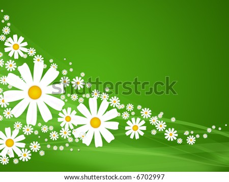 Illustration - summer flowers with green abstract background - stock photo