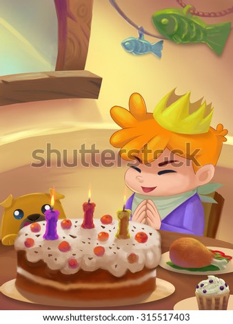 Illustration: Sweet Dinner Room; Table with food. Birthday Cake. Drumstick. Ice cream. Birthday Person. Fantastic Cartoon Style Scene Wallpaper Background Design. - stock photo