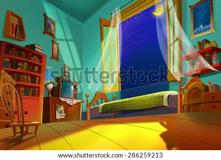 Illustration: Sweet Room - Something beautiful is going to happen in this summer night. - Fantastic Style - stock photo