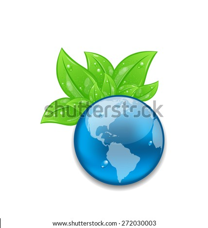 Illustration symbol of planet Earth with green leaves - raster - stock photo