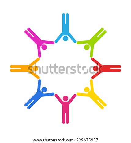 Illustration Team Colorful Simple Icons of People Connected, Unity Business People - raster - stock photo