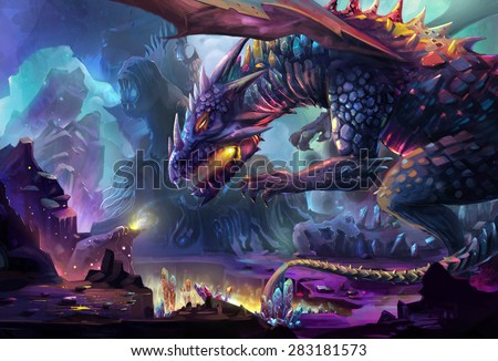 Illustration: The Dragon Planet - The danger dragon is drinking the energy generated by gem stone and crystal. Never touch the treasure in his planet, he will kill you. - Scene Design. Fantastic Style - stock photo