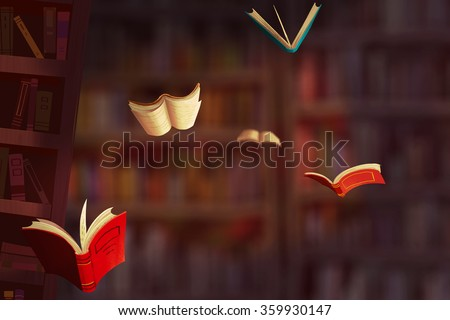 Illustration: The Falling Books. Realistic Fantastic Cartoon Style Artwork Scene, Wallpaper, Game Story Background, Card Design  - stock photo