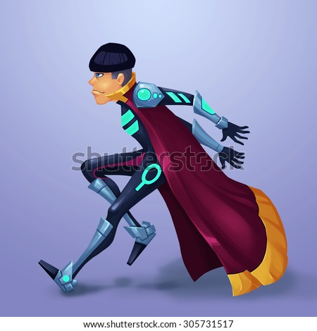 """Illustration: The Hacker, Nick name """"Kid"""". A Leading Role Design of a Fantastic Sci-Fi World Called """"White City"""". - stock photo"""